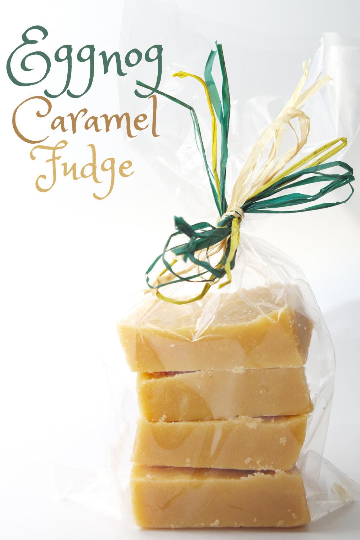 Festive Christmas Caramel Eggnog Fudge