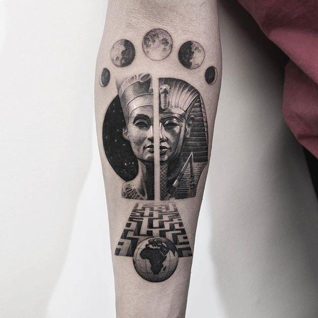 black ink earth tattoo