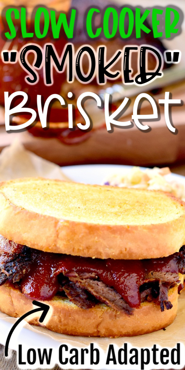 You don't have to have a grill to get that smoke flavor. Give your slow cooker a try. It is so easy to make and so good! #slowcooker #crockpot #beef #brisket #BBQ #smoked #lowcarb #keto #recipe | bobbiskozykitchen.com