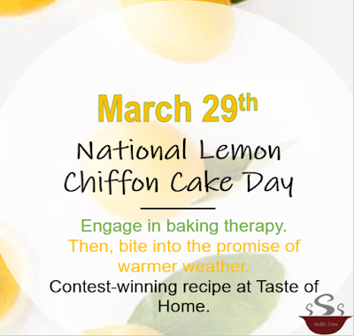 On March 29th, engage in baking therapy.  Prepare to taste the sunshine!