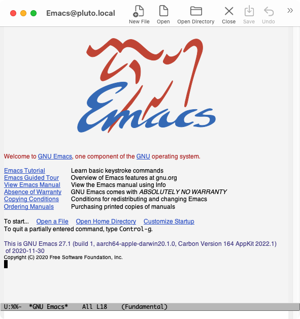 Screenshot of Emacs 27 compiled on Apple ARM M1