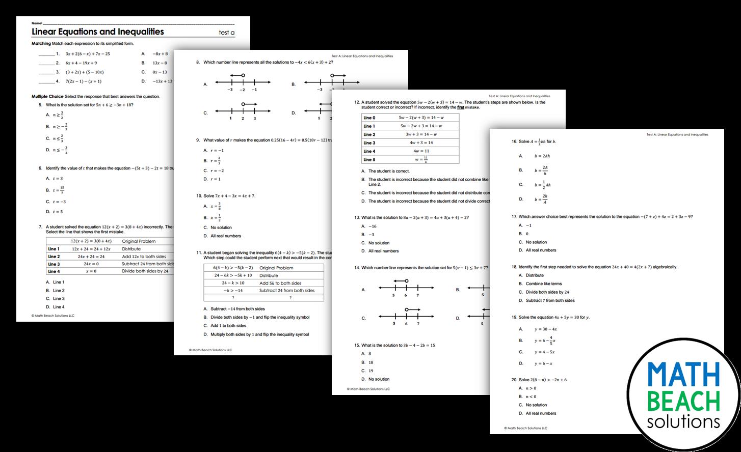 Texas Algebra 1 Unit Test
