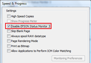 How to disable Epson Status Monitor