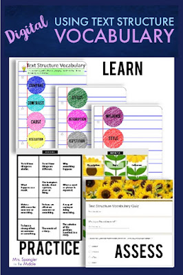 Teach your middle school students the key vocabulary associated with using Text Structure to analyze text with these digital graphic organizers, a digital practice puzzle, and a self-grading digital quiz!