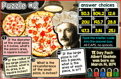 Image of puzzle #2 in a Pi Day Digital Math Escape Room for high school students. Albert Einstein is in a pizza shop with a chef's hat!