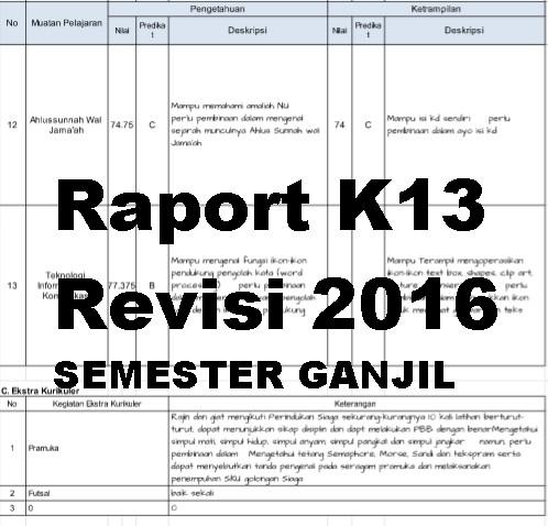 Aplikasi Raport K13 Sd Kelas 1 6 Semester Ganjil Revisi Aplikasi