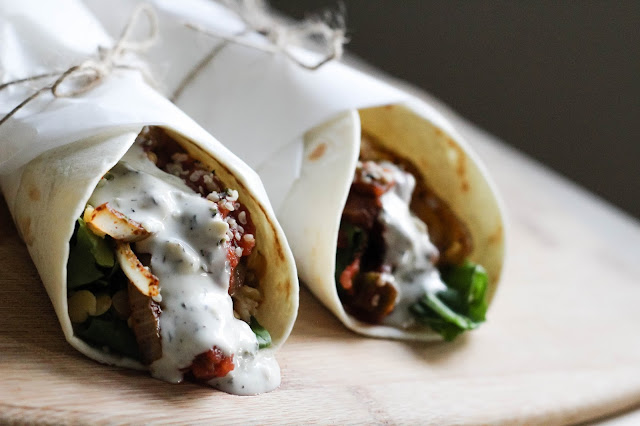 vegan red lentil tacos with dill sauce