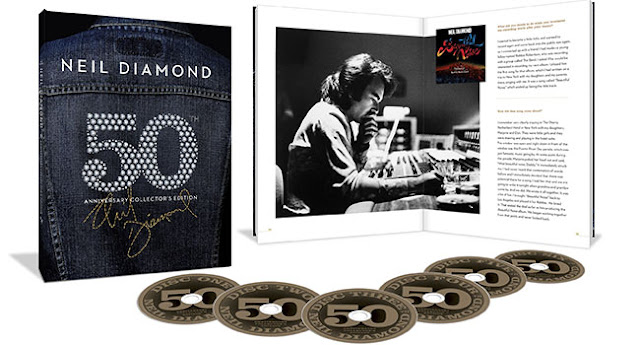 The Neil Diamond 50th Anniversary Collector's Edition is a 6 CD retrospective that spans the singer-songwriter's entire storied career. The fully loaded collection contains 115 tracks overall set in a hard-cover book, featuring scores of Diamond's most beloved hits alongside demos, rarities and 15 previously unreleased tracks.