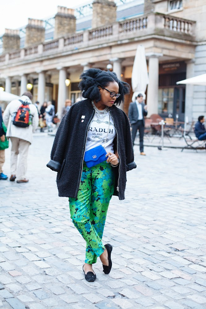 Afro hair, Afro hair blogger, iamnrc afro, Asos Statement Trousers and Praduh Tops