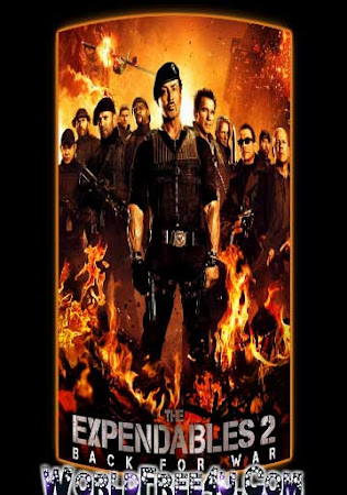 Poster Of Free Download The Expendables 2 2012 300MB Full Movie Hindi Dubbed 720P Bluray HD HEVC Small Size Pc Movie Only At worldfree4u.com