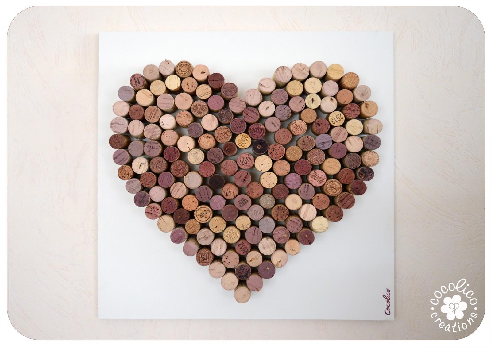 Très cocolico-creations: Dites-le avec des Coeurs : coeur de bouchons DA72