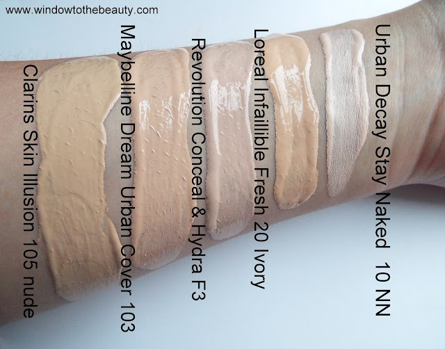 Urban Decay Stay Naked Foundation compare shades to loreal revolution clarins maybelline