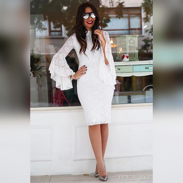 Μακρυμάνικο μίντι άσπρο φόρεμα DONIKA WHITE
