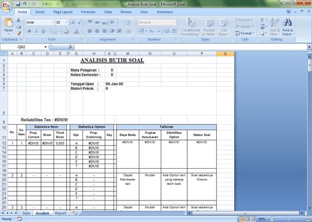 Aplikasi Analisis Butir Soal Essay dan Pilihan Ganda dengan Microsoft Excel