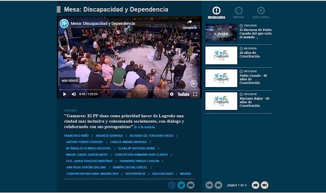 Fotograma del vidéo de mesa discapacidad y dependecia de la web del pp
