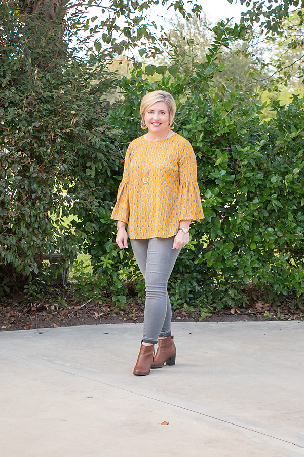 bell sleeve top, fall fashion, mustard, grey jeans