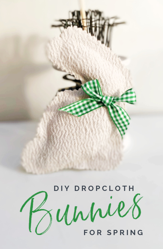 Stuffed drop cloth bunny with Pin overlay
