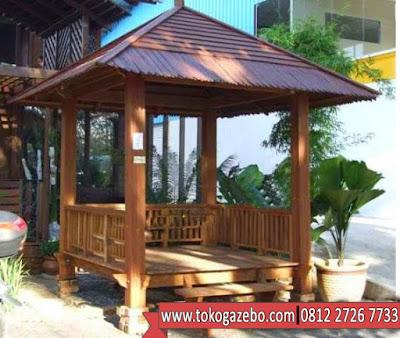 Gazebo Jati Minimalis Atap Sirap
