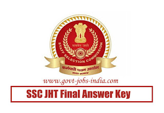 SSC JHT Final Answer Key 2019