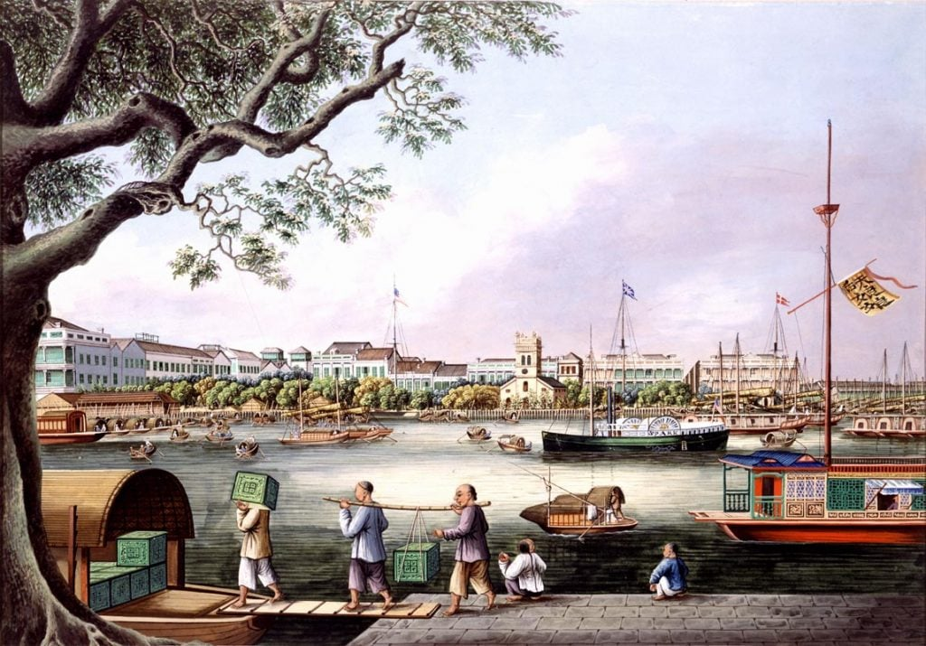 """19th century portrait entitled """"Loading Tea at Canton"""" ca. 1852 by Tinqua, depicting a blossoming tea trade in China during this period."""