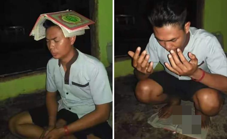 Image result for Berdoa Sambil Injak Alquran, Pria Ini Bikin Netizen Geram