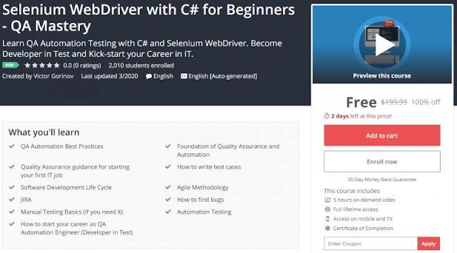 [100% Off] Selenium WebDriver with C# for Beginners - QA Mastery| Worth 199,99$