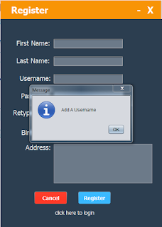 java register form - add username