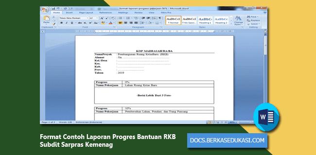 Format Contoh Laporan Progres Bantuan RKB Subdit Sarpras Kemenag