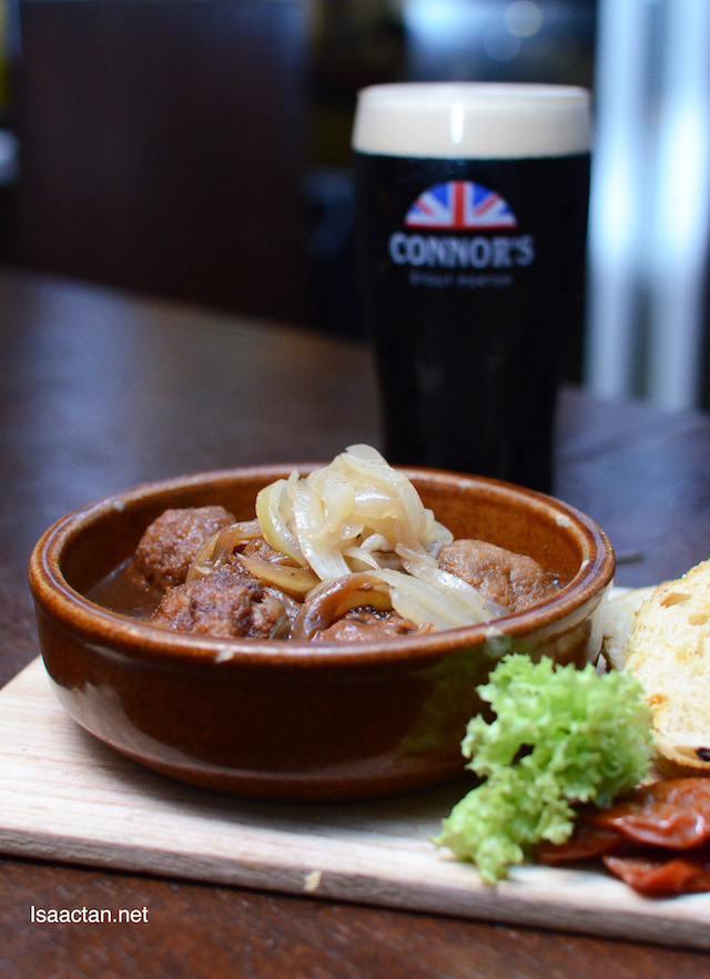 Braised Meat Ball with sweet onion CONNOR'S Sauce - RM30++ with 1 full pint of CONNOR'S Stout Porter