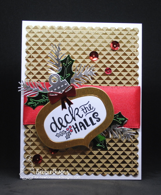 Deck the hall by Debbie features Ornamental Wishes, Ornamental Shaker, Pines & Holly, and Frames & Flags by Newton's Nook Designs: #newtonsnook