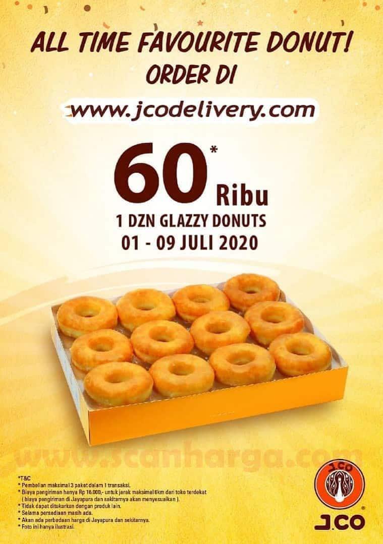 JCO Promo Harga Spesial 1 lusin donat glazzy favorit hanya Rp. 60.000 Periode 1 - 9 Juli 2020