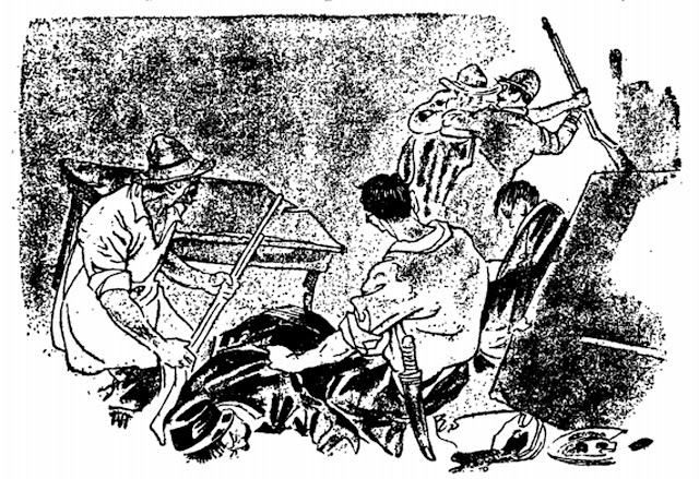 Originally captioned:  Ang labanan sa Tribunal Munisipal ng Nobeleta ng ika-31 ng Agosto ng taong 1896.  Image source:  Artemio Ricarte's Himagsikan ng manga Pilipino Laban sa Kastila.