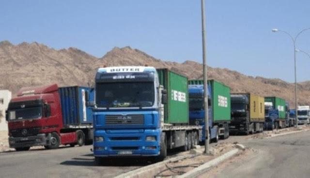 النقل توضح معاملة الشاحنات القادمة من المنافذ البرية إلى البحرية