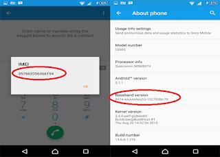 nomor IMEI dan Baseband android