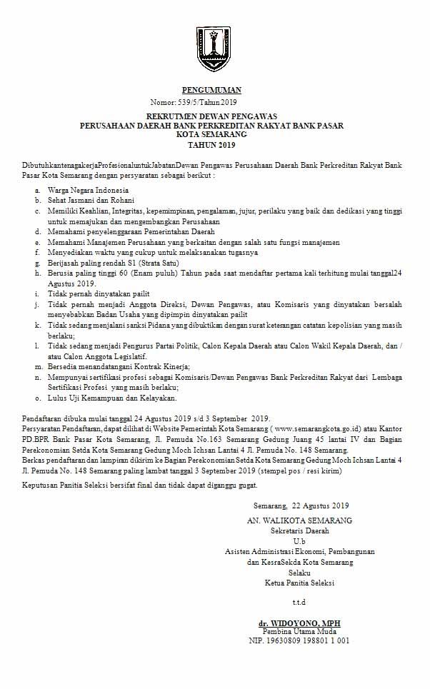 Rekrutmen Bank Perkreditan Rakyat Bank Pasar Kota Semarang Tahun 2019