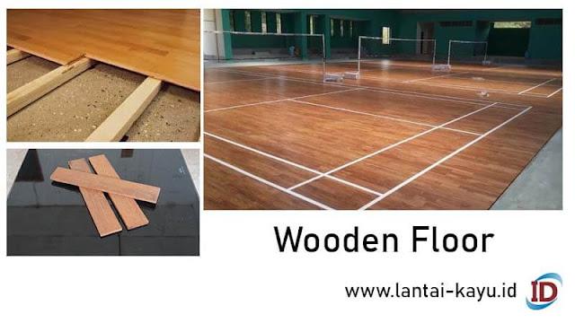 lantai kayu parket lapangan badminton
