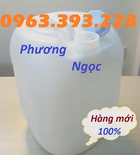 Can nhựa đựng hóa chất, can nhựa HDPE 20L, can nhựa vuông tròn màu trắng 135c9c65da083d566419