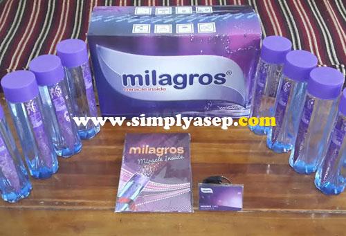 Paket lengkap Milagros terdiri dari 12 botol produk, 1 kartu Aktivasi dan buku manual. Foto Asep Haryono