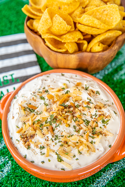 3 Ingredient Creamy Onion Dip - such an easy game day recipe! Hellmann's/Best Foods Mayonnaise, Lipton Recipe Secrets Onion Soup Mix  and sour cream. Can make a day in advance and refrigerate until serving. SO easy and SOOO delicious!!