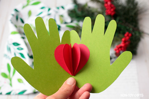 Christmas Grinch handprint card