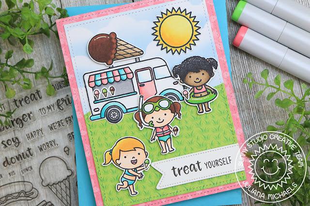 Sunny Studio Stamps: Cruisin' Cuisine Beach Babies Sunny Sentiments Fluffy Cloud Border Dies Summer Themed Card by Juliana Michaels