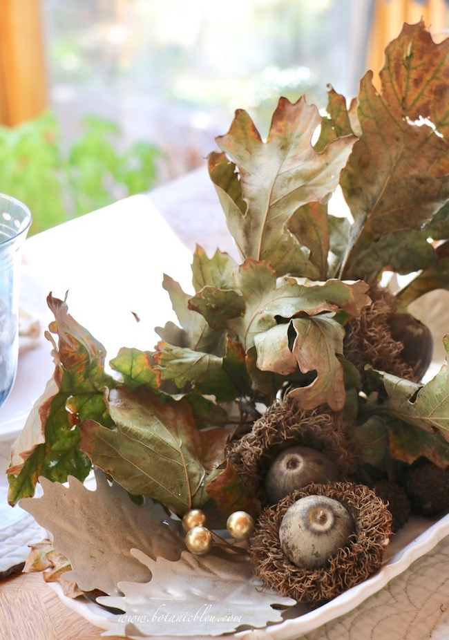 Thanksgiving Natural Centerpiece tips for using twigs, leaves, and acorns include tips to prepare foliage by washing it before using it in arrangements