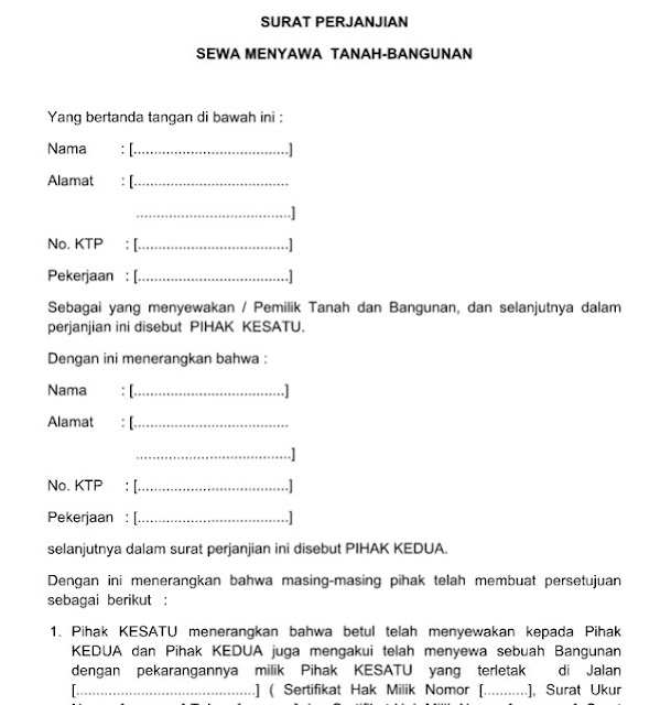 Contoh Surat Resmi Perjanjian Sewa Menyewa Tanah Bangunan Format Word