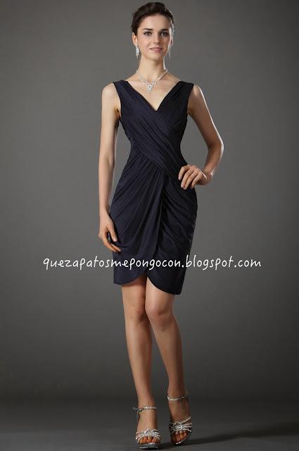 Combinar vestido azul oscuro largo