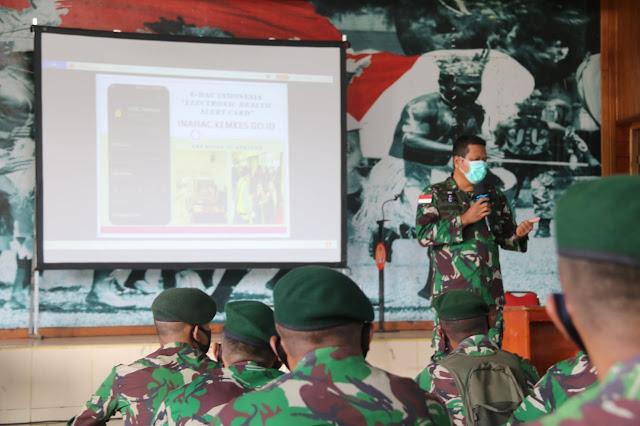 Prajurit Satgas Yonif 411 Terima Sosialisasi E-HAC dari KKP Merauke