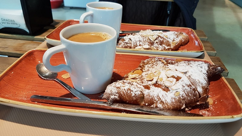 Almond croissants and coffee at Lucie's