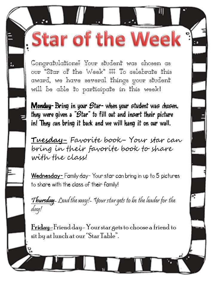 star of the week poster template - second grade savvy student recognition