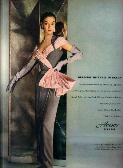 Jean Patchett in Pattullo-Jo Copeland Dinner Sheath of New Crepe for Avisco Rayon 1951 Advertisement