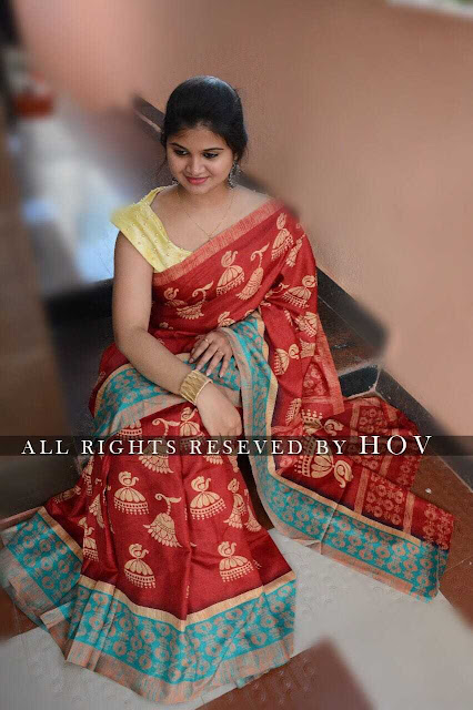 Handloom Linen Chanderi Sarees With Kalamkari Prints Along With Running Blouse
