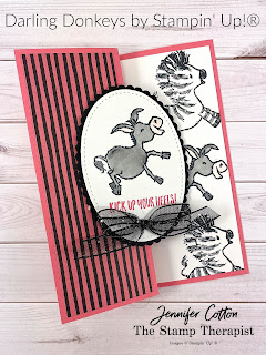 Z Fold Card.  Stampin' Up!'s Darling Donkeys Sale-A-Bration stamp set!  This card also uses Zany Zebras.  The designer paper is Flower & Field Sale-A-Bration. #StampinUp #StampTherapist #SaleABration